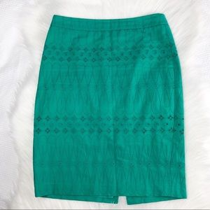 Loft Eyelet Pencil Skirt in Green